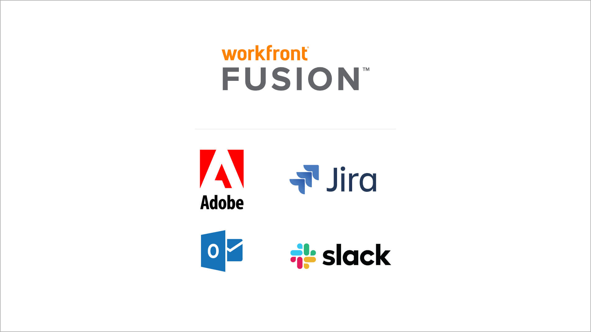 Adobe, Jira, Slack, MS outlook logos